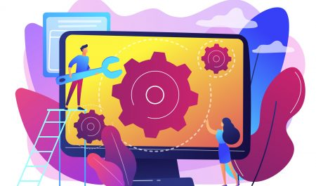 Computer technician with wrench repairing computer screen with gears. Computer service, laptop repair center, notebook setup service concept. Bright vibrant violet vector isolated illustration